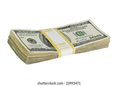 $10,000 stack of one hundred dollar bills isolated on white background