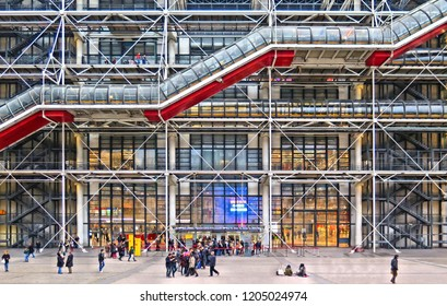 10.01.2015. Modern architecture and building, museum center Pompidou with abstract patterns and people on the square, Paris France