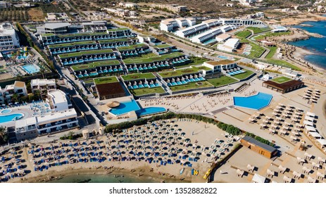 10/01/2018- Aerial view of the hotel NANA PRINCESS SUITES, VILLAS & SPA, Hersonissos - Crete, Greece. Panoramic view from above. Summer sea and tourism on the coast of Greece