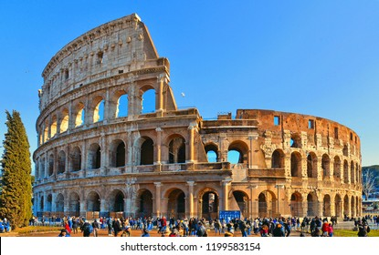 10.02.2018. crowd of people in front of ancient roman colosseum with blue sky in Rome, Italy