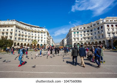 10.03.2018 Thessaloniki, Greece - People walking at Aristotelous Square in the center of city of Thessaloniki.