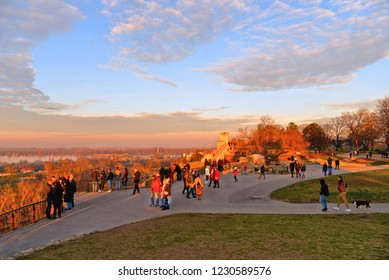 10.04.2018. crowd of people, cityscape panorama from the green hill of old Kalemegdan fortress near river Sava and Danube in Belgrade, Serbia