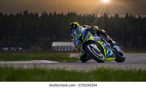 10-05-2020 Ropazi, Latvia Motorcycle practice leaning into a fast corner on track. MotoGP race. Superbikes. Motorbikes racing. Sport Biker Racing on Road