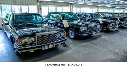 10.06.2018 - Kiev, Ukraine.  garage with luxury cars in the former residence of the President of Ukraine Viktor Yanukovych in Mezhyhiria