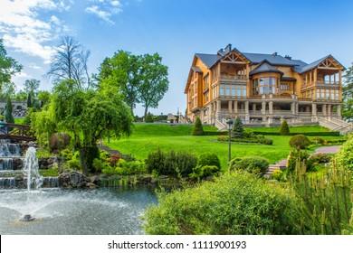 10.06.2018 - Kiev, Ukraine. Wooden Honka, the former residence of the President of Ukraine Viktor Yanukovych in Mezhyhiria