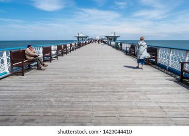 10/06/2019 Llandudno Pier, Gwynedd, North Wales, UK Llandudno Pier is a Grade II* listed pier in the seaside resort of Llandudno, North Wales, At 2,295 feet, the pier is the longest in Wales.
