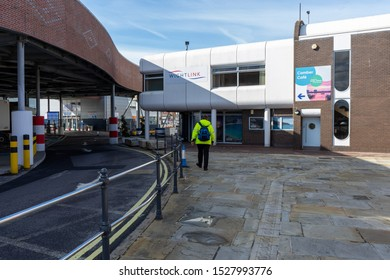 10/09/2019 Portsmouth, Hampshire, UK The entrance to the Wightlink car ferry terminal in old Portsmouth, Portsmouth UK
