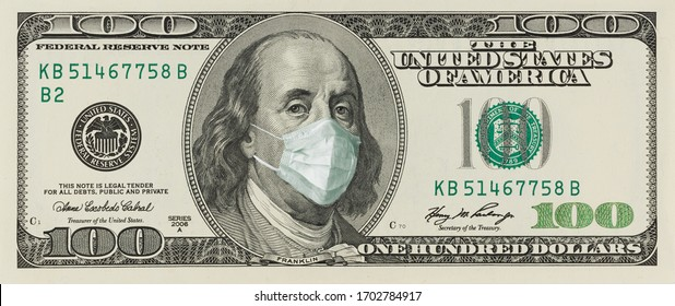 A 100-dollar bill with a face mask by Benjamin Franklin from the COVID-19 Coronavirus in the United States.