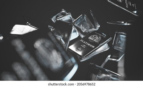 """100g platinum bullions in anti gravity mode. The bars are gleaming polished, with a flat embossed surface. Embossing """"Bank of the Medici"""" """"One does not sue truth for profit"""" - no copyrighted elements"""