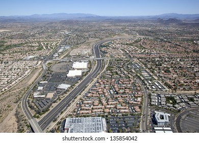 101 Freeway from above with homes and business of northwest Phoenix, Arizona