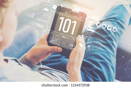 101 with man using a tablet in a chair