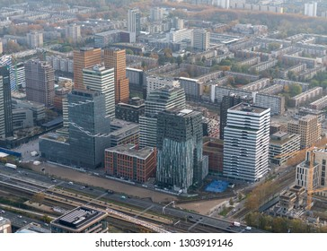 10-10-2018, Amsterdam, Holland. Aerial view of skyline with skyscrapers at the business district Zuidas.  Headquarters of Dentons Boekel, Cushman & Wakefield, Baker & McKenzie, VEON (VimpelCom).