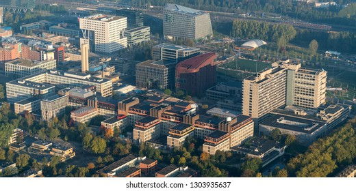 10-10-2018, Amsterdam, Holland. Aerial view of Vrije Universiteit Amsterdam, a large University Complex with campus.