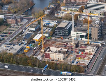 10-10-2018, Amsterdam, Holland. Aerial view of construction site of new Courthouse at the business district Zuidas.