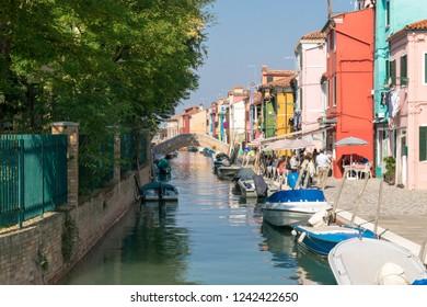 10/10/2018 Burano, Venice, Italy. Colourful buildings of Burano in Venice. Beautiful architecture of Italian architecture.