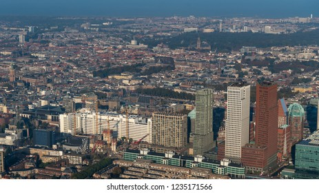 10-10-2018 Den Haag, Holland. Aerial view of the skyline The Hague with the area around central train station. The  skyscrapers are various high rise government buildings, including the Vulpen.