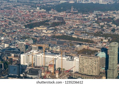 10-10-2018 Den Haag, Holland. Aerial view of the skyline The Hague with the Binnenhof and Cityhall. In front of the town hall a construction site with huge cranes.