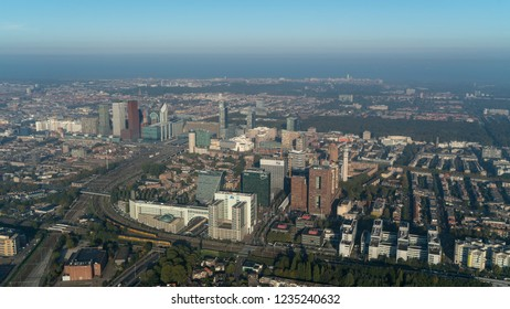 10-10-2018 Den Haag, Holland. Aerial view of the skyline The Hague with the area around central train station. The  skyscrapers are government buildings and offices from Post, NN, MN, WTC and Deloitte