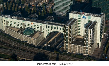 10-10-2018 Den Haag, Holland. Aerial view of the skyline The Hague. Headquarters of insurance company NN Nationale Nederlanden.