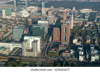 10-10-2018 Den Haag, Holland. Aerial view of the business district in The Hague. High rise skyscrapers with company names like Post.NL, MN, World Trade Center, WTC, CBI and NN Nationale Nederlanden.
