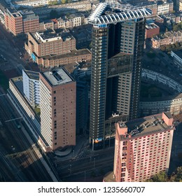 10-10-2018 Den Haag, Holland. Aerial view of skyscraper Haagse Toren in The Hague. It has the city's highest restaurant at the top floor.