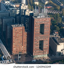 10-10-2018, Den Haag, Holland. Aerial view of the World Trade Center in The Hague. The tower on the left is NH Hotel, a tall modern building.