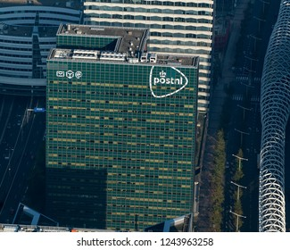 10-10-2018, Den Haag, Holland. Aerial view of Headquarters of the ducht postal services, Post.nl in The Hague. It is a green modern building and the pattern gives it an abstract view.