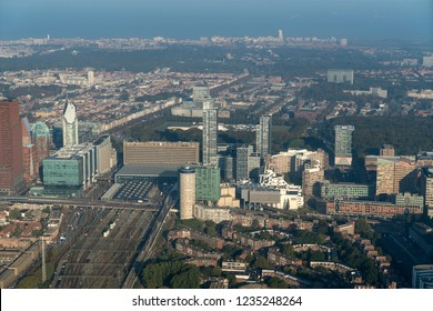 10-10-2018, The Hague, Holland. Aerial view of train station Den Haag Centraal with skyscraper New Babylon, Vulpen and the city of Schevingen and the Noordzee on the horizon.