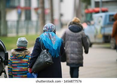 10-10-2020 Jurmala, Latvia. Anonymous crowd of people walking on street.
