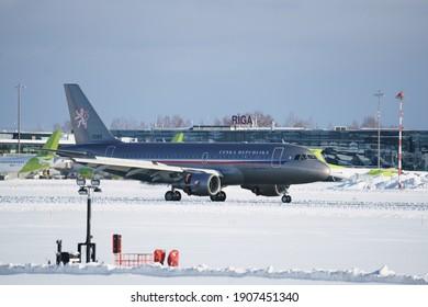 10-10-2020 RIga, Latvia Airplain is flying at blue sky