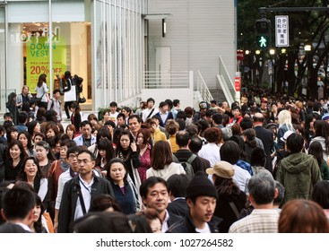 10.15.2009, Tokyo, Japan.  Crowd in the Tokyo. Travel around Japan.