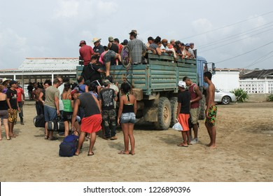 10/15/2018, Tapachula, Suchiate, or Ciudad Hidalgo in Mexico: Central American Refugees are boarding a Truck on their way north to the US border