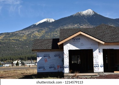 10/27/18 Flagstaff Arizona New home construction in Flagstaff with a view of the San Francisco Peaks