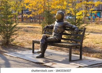 10/29/2020 Almaty Kazakhstan monument to Yuri Gagarin the first cosmonaut