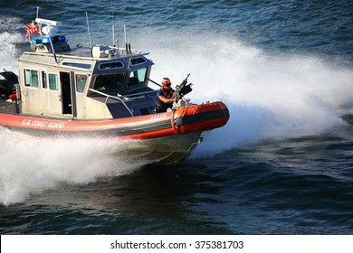 10-30-2015 FT LAUDERDALE FLORIDA A US Coast Guard 25ft armed defender class boat patrolling the water ways. These boats began service in May 2002.
