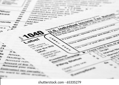 1040 Tax Form with a shallow depth of field