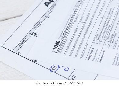 1040 tax form. US Individual Income Tax return form