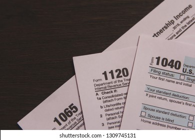 1040,1120,1065 US tax form / taxation concept. USA - Image