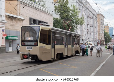 """1.05.2016 Russia. Moscow. Area near the metro station """"Baumanskaya"""" Tram in the city"""