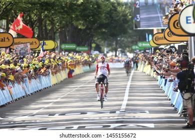 106th Tour de France 2019 - Cycling Tour in Saint-Etienne, on July 13, 2019, Stage 8, a 200km stage from Mâcon to Saint-Étienne 486m / TDF / #TDF2019 / LeTour ; Lotto Soudal's Thomas De Gendt wins,