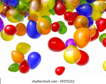 1080 HD video of multi-colored balloons falling from above over a white background. Includes alpha matte! (16:9)