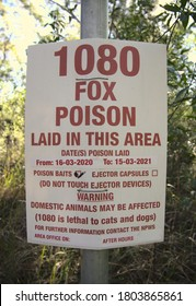A 1080 poison sign warning that thee has been baits places for feral Fox control.