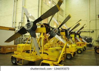 1-09-2018, Brussels airport, disassembled propeller blades C130 Hercules