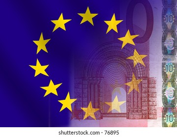 A 10-euronote blended together with a waving european flag