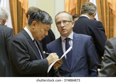 10-Feb-2016 Jan Tombinski, the EU representative in Ukraine, and the ambassador of Japan at the Collegium on Ministry of Interior and Ministry of Justice Reform, Kyiv, Ukraine