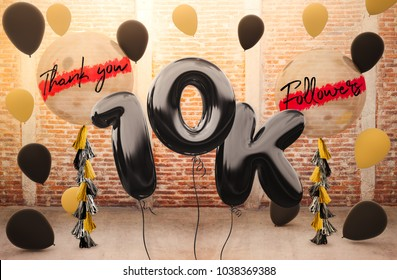 10k or 10,000 followers thank you with brilliant Balloons background. For your Celebration and Appreciation for social Network friends, Web user Thank you or celebrate of subscriber, follower, like