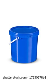 10L blue plastic bucket isolated on white background. Clipping path included.