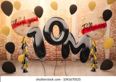 10M or 10 Million followers thank you with brilliant Balloons background. For your Celebration and Appreciation for social Network friend, Web user Thank you or celebrate of subscriber, follower, like