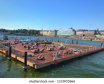 10th August 2018. Finland, Helsinki, allas sea pool.  Cityscape of Helsinki harbour with swimming station called allas sea pool.