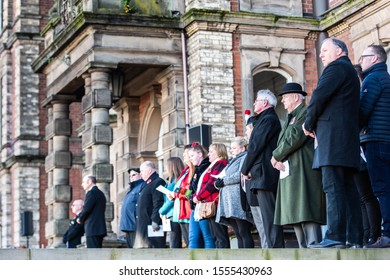 10th - November - 2019 - Hanley. Stoke on Trent, Staffordshire - Large crowds gather to attend the Remembrance Day, Armistice day parade in the city centre of Hanley, Stoke, remember the fallen